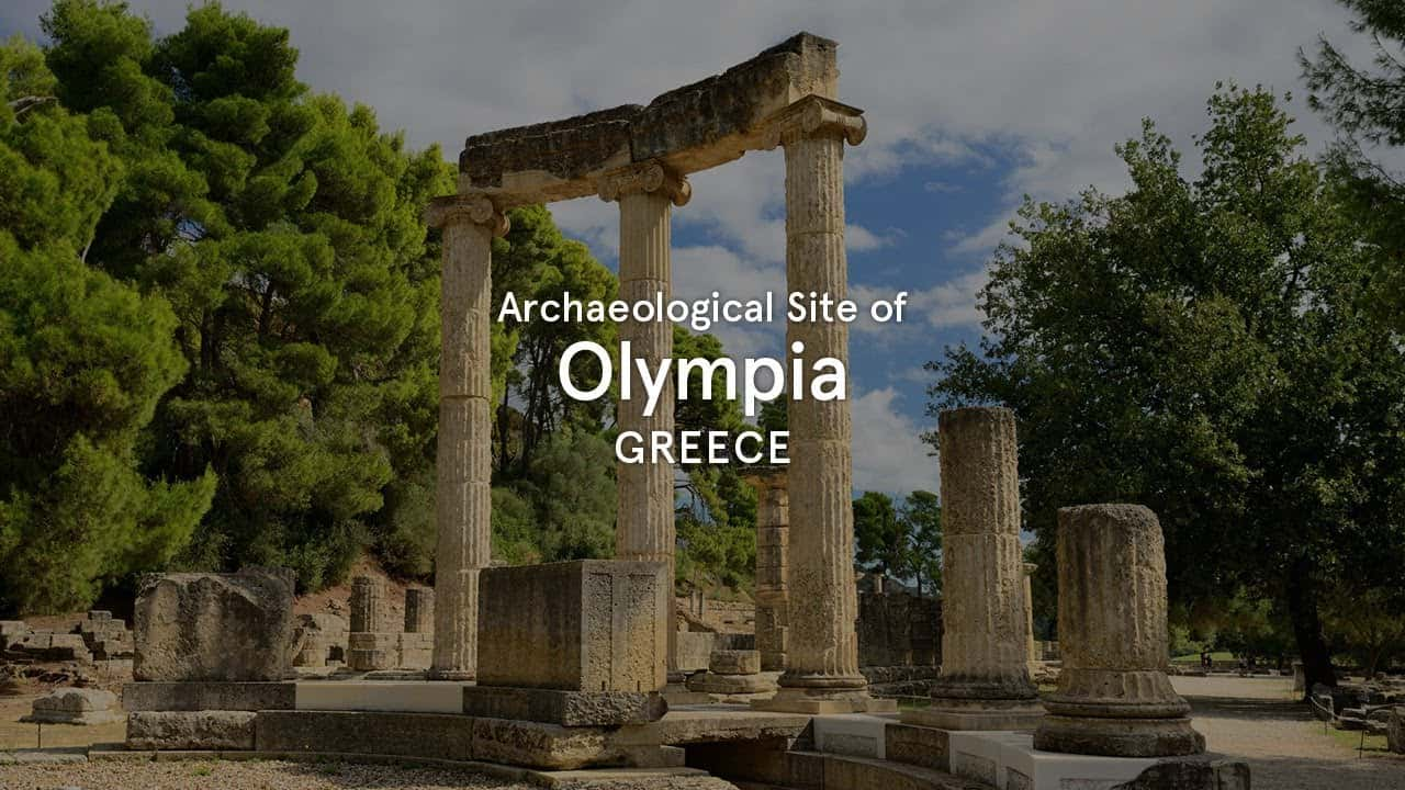 Monuments of The Archaeological Site of Olympia with virtual reality glasses and audio guide at Olympia Greece