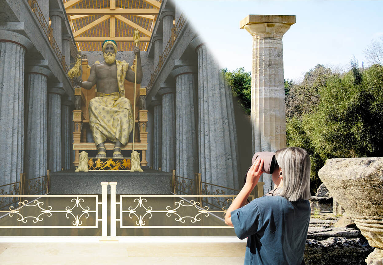 Self guided tour in Olympia will make your visit to the Temple of Zeus with vr glasses unforgetable
