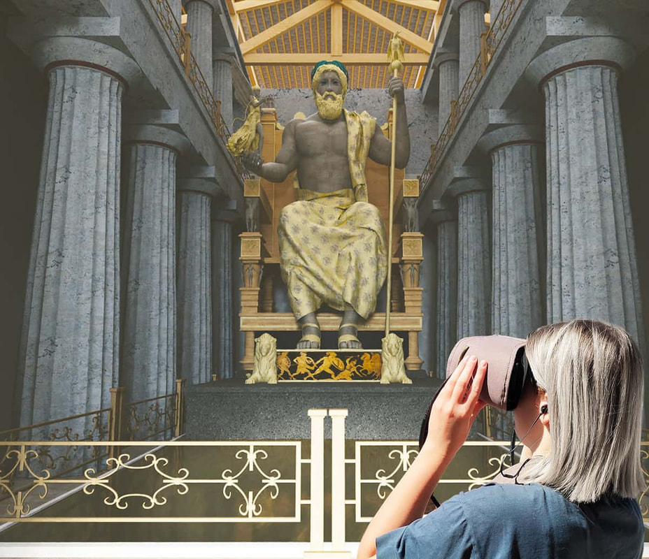 Looking at the 3D statue of Zeus in Olympia with virtual reality glasses and audio guide.