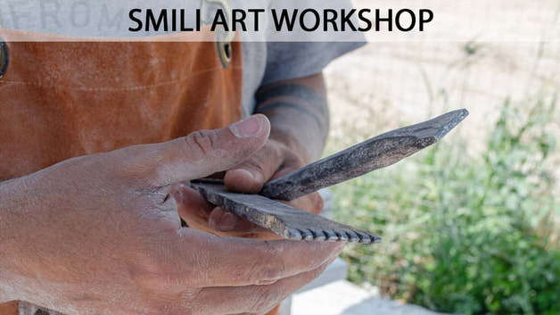 Smili Art Workshop - A sculptor with his tools at Olympia Greece