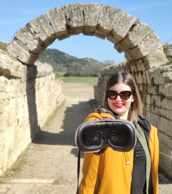 Visiting  the Archaeological Site of Olympia from Katakolon port and using VR glasses to see Ancient Olympia as it was back in time.